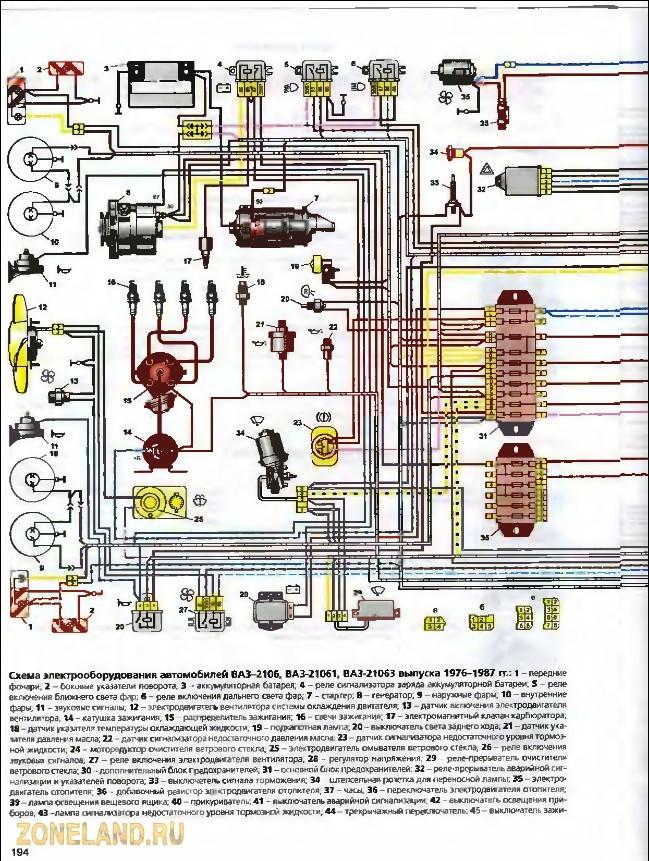 Схема электропроводки на ваз 2106